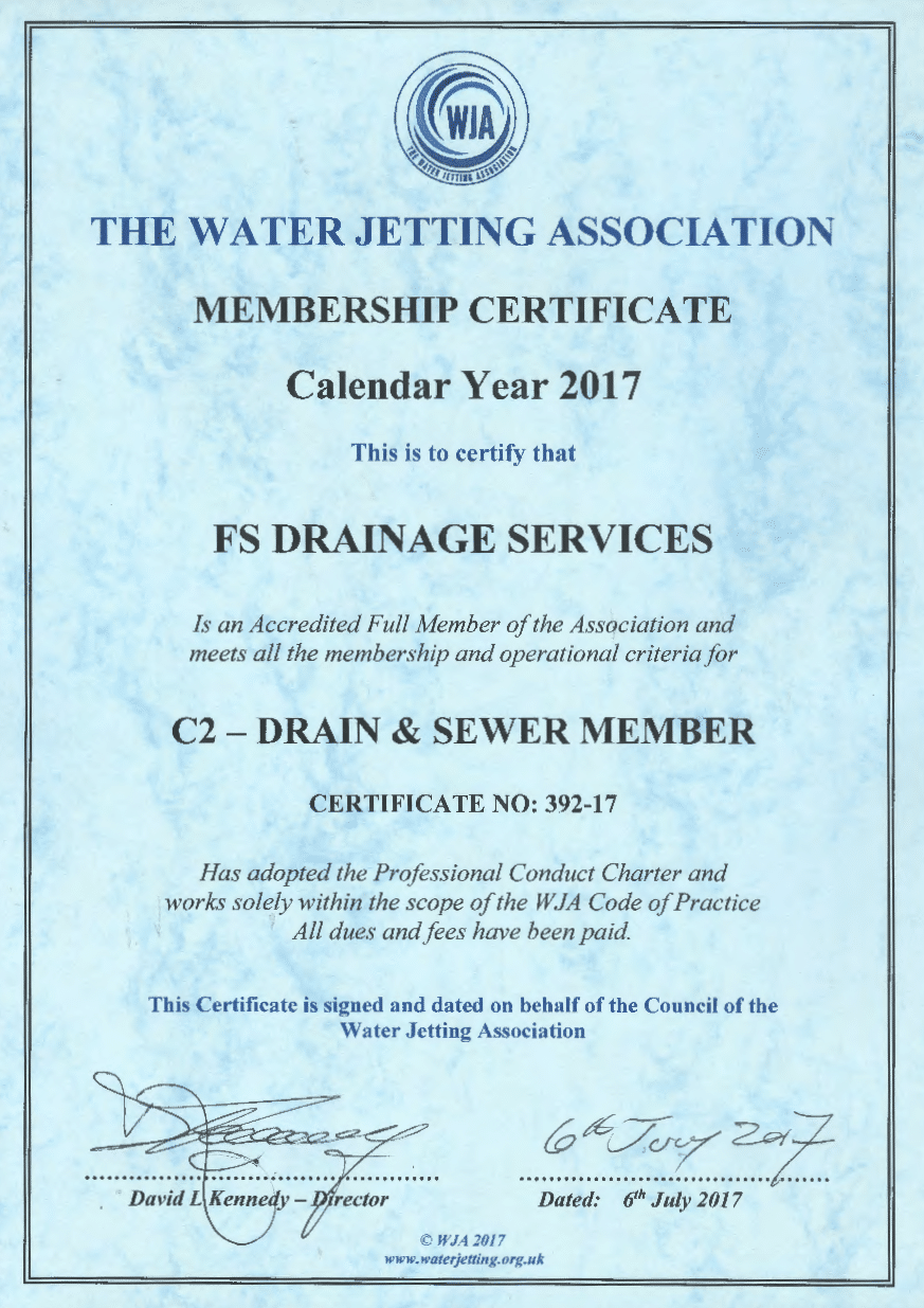 Water Jetting Association Membership Certificate - 2017